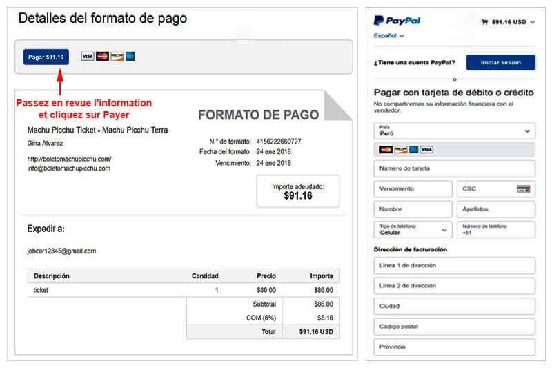 Facture Billet Paypal Machu Picchu Picchu