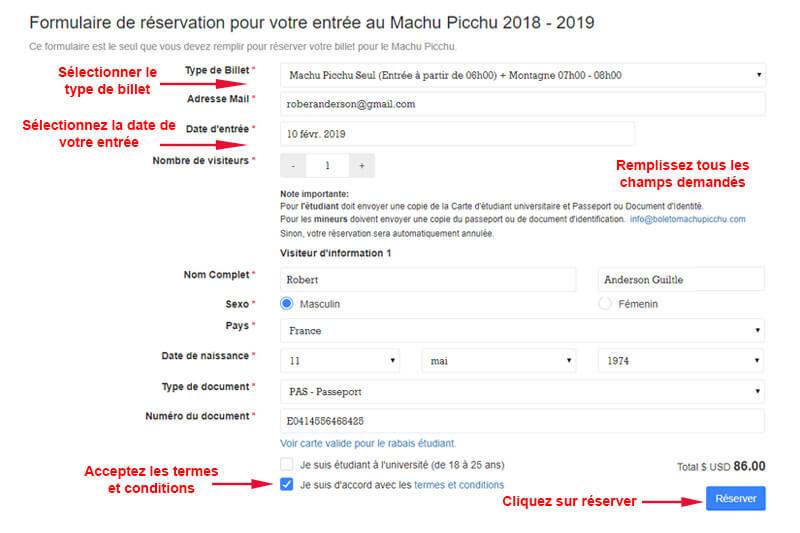 Formulaire de réservation de billets Machu Picchu